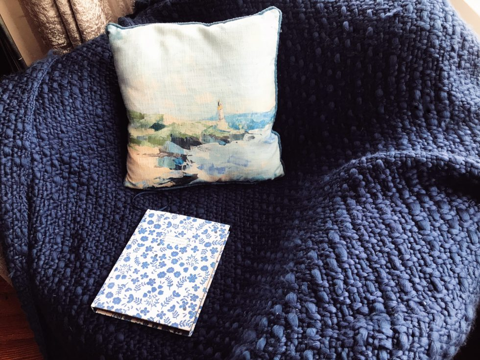 French bedroom navy throw